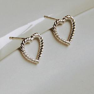 Sterling Silver Rope Heart Earrings