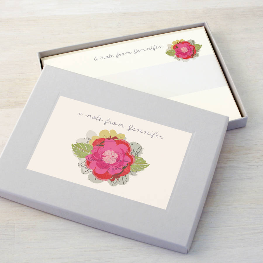 personalised flower writing set by made by ellis | notonthehighstreet ...