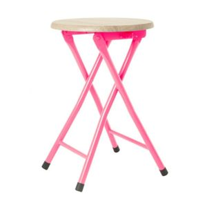 Pink Stool With Wooden Seat