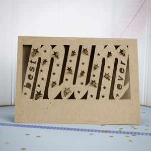 Best Mum Ever Paper Cut Card - mother's day cards