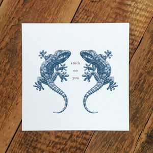 Gecko Love Card; 'Stuck On You'