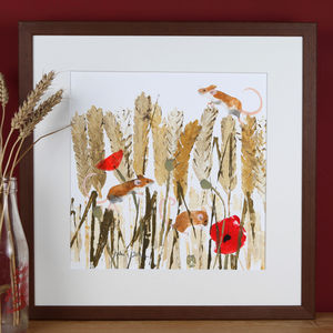 Countryside Field Mice With Corn And Poppies Painting - art by category