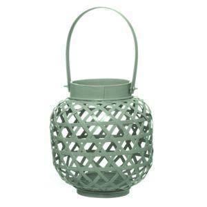 Mint Green Bamboo Lantern Tea Light Holder - garden sale