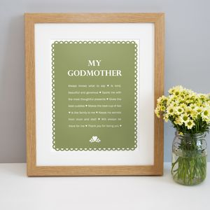 Personalised 'My Godmother' Print