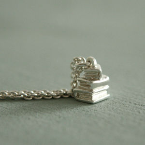 Silver Book Pile Necklace - book-lover