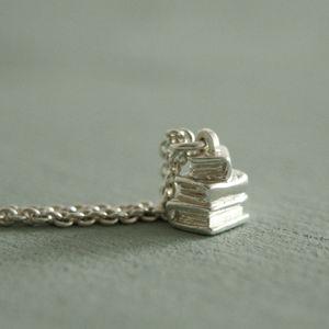 Silver Book Pile Necklace - book-lover