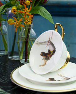 Trapeze Girl Teacup And Saucer - kitchen