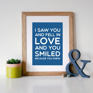 'You Smiled Because You Knew' Quote Print - posters & prints