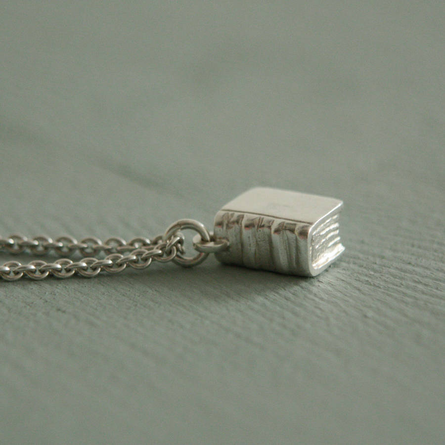 book necklace in sterling silver by rock cakes