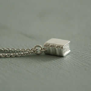 Book Necklace In Sterling Silver - book-lover