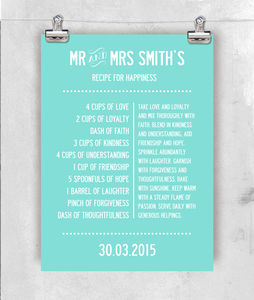 'Recipe For Happiness' Personalised Print - personalised wedding gifts