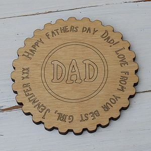 Personalised Dad Message Coaster