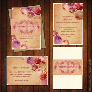 Persoanlised Vintage Rose Wedding Invitations - whatsnew