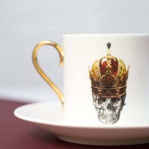 Skull In Red Crown Espresso Cup And Saucer - dining room