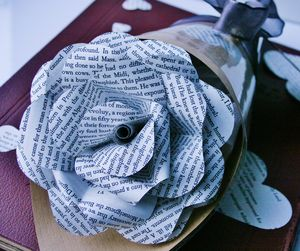 Book Page Wrapped Paper Rose
