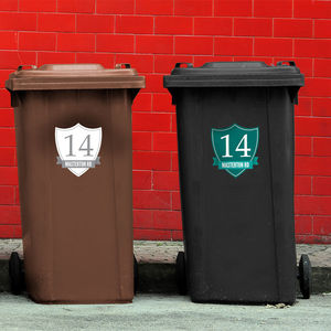 Shield Wheelie Bin Label - decorative letters