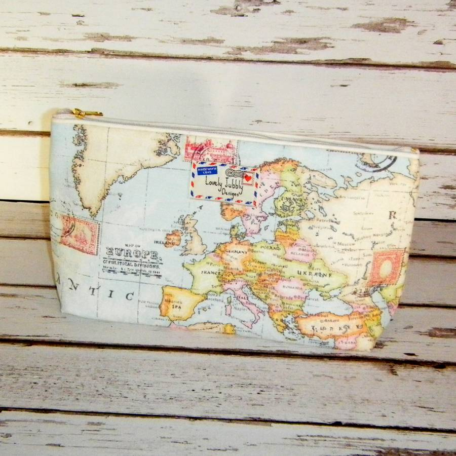 World map travel gift makeup toiletry wash bag by lovely jubbly world map travel wash bag medium gumiabroncs Image collections