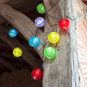 Multi Coloured Chinese Lantern Solar Lights