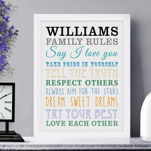 Personalised 'Family Rules' Framed Print - gifts from younger children