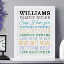 Personalised 'Family Rules' Framed Print
