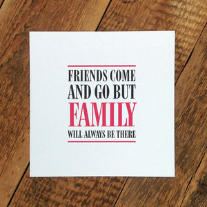 Card For Parents; 'Family Will Always Be There' - view all mother's day gifts