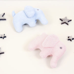 Organic Cotton Elephant Baby Rattle - baby toys
