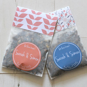 Personalised Tea Wedding Favours In Cobalt And Coral