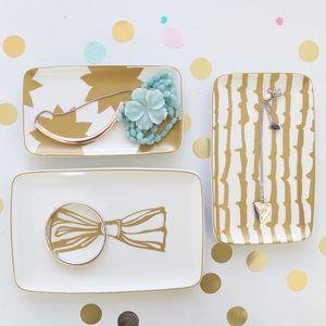 Set Of Three Gold Print Ceramic Trinket Trays - jewellery storage & trinket boxes