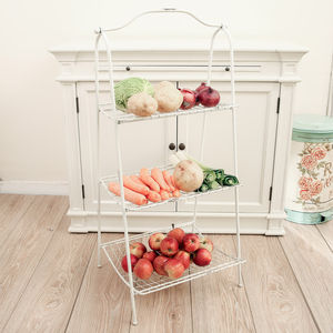 Collapsible Farmhouse Ivory Wire Rack - furniture