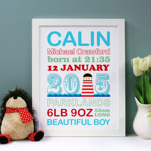Personalised Birth Announcement Nautical Word Art - canvas prints & art for children