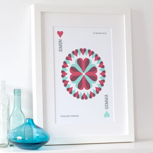 Personalised 'Ace Of Hearts' Playing Card Print - posters & prints for children