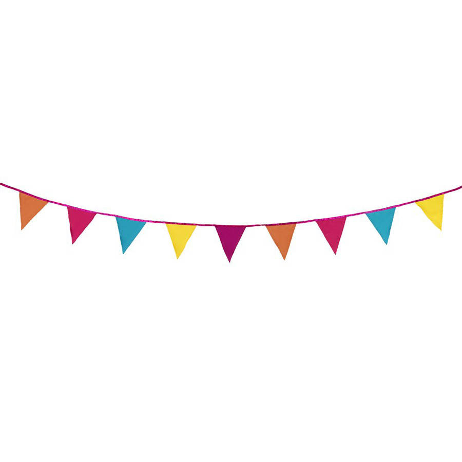 bright fabric bunting by postbox party