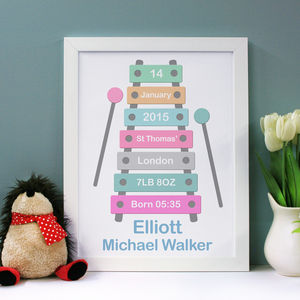 Personalised Birth Announcement Xylophone Style Art - canvas prints & art for children