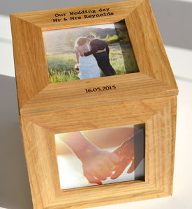 Personalised Oak Wedding Photo Cube - bedroom