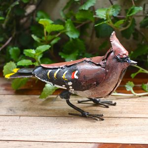 Handpainted Waxwing Boreal Garden Sculpture - art & decorations