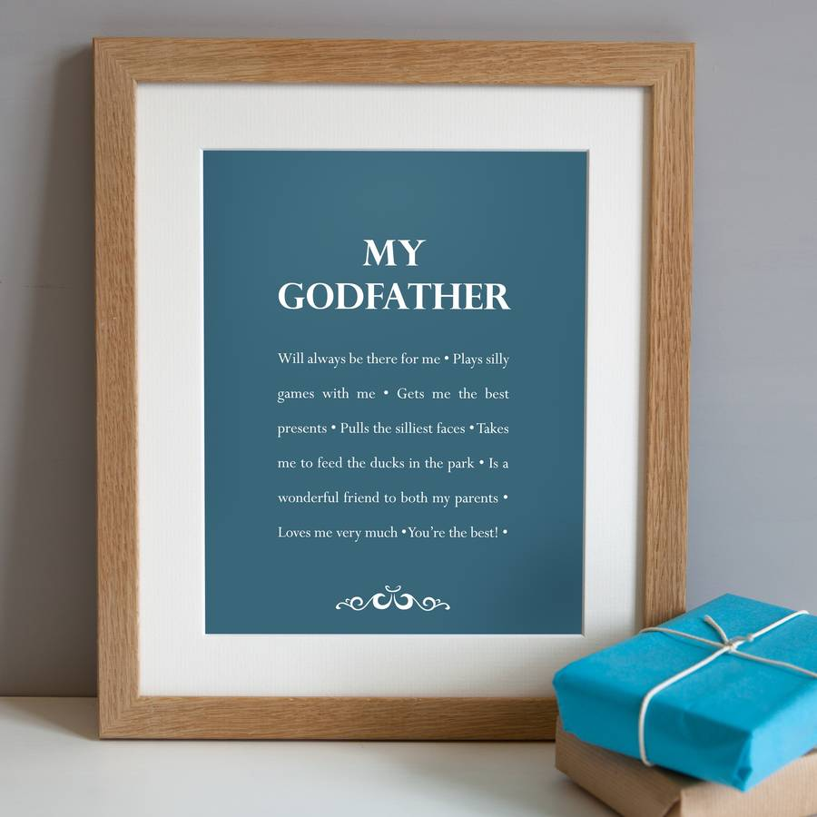 Personalised my godfather print by elephant grey artwork in regatta blue in a solid oak frame jeuxipadfo Choice Image