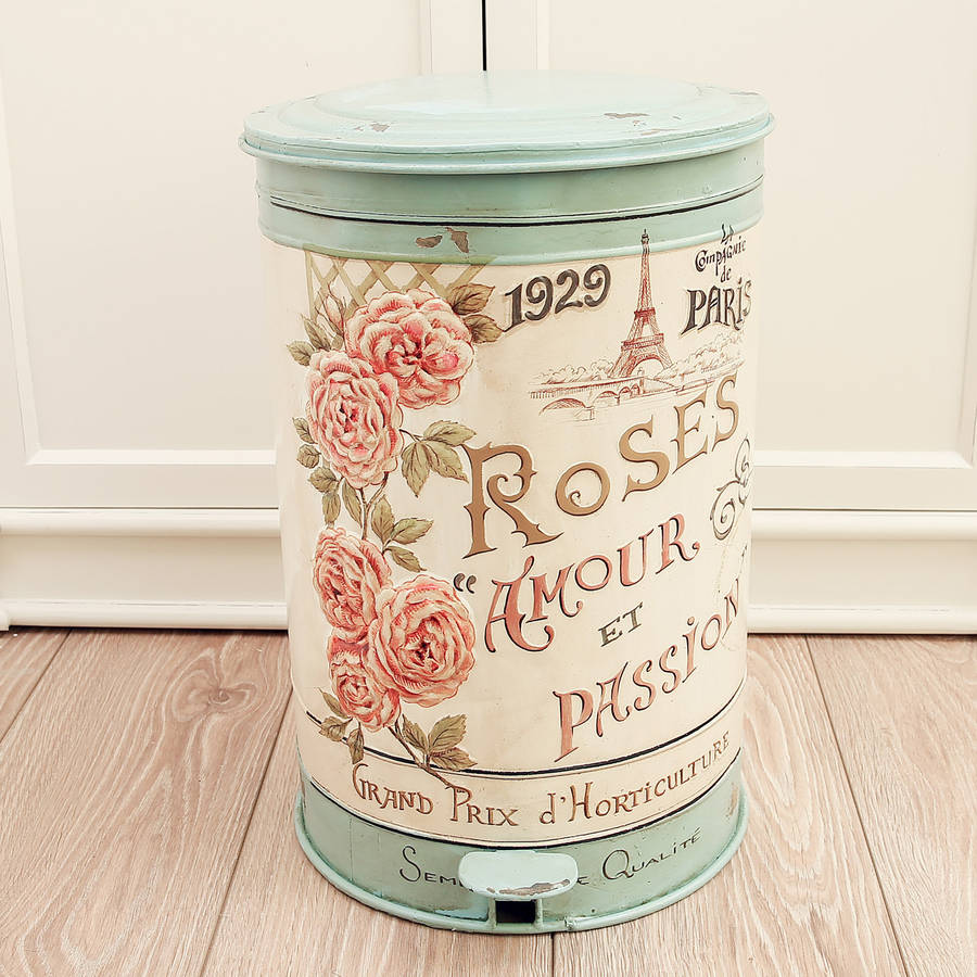 Vintage roses armour pedal bin by dibor for Salle de bain style antique