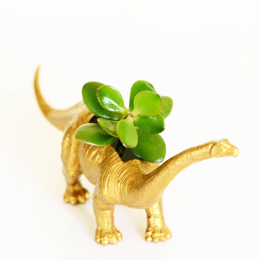Gold Dinosaur Planter For Succulent Plants By Crazycouture On Etsy