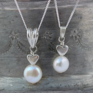 Mama Et Moi Pearl Wedding Pendants With Silver Hearts - june birthstone