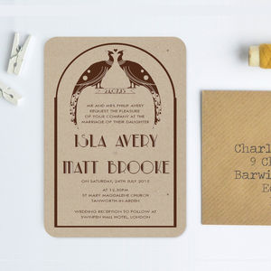 Art Deco Recycled Wedding Invitation