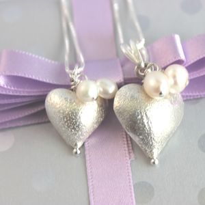 Mama Et Moi Silver Heart Pendants - wedding jewellery