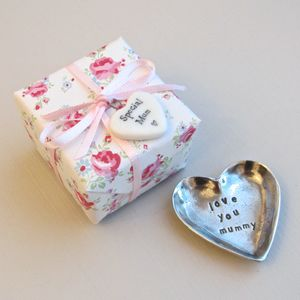 'Love You Mummy' Tiny Heart Pewter Trinket Dish - bedroom