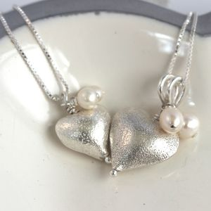 Mama Et Moi Silver Heart Wedding Necklaces - wedding jewellery