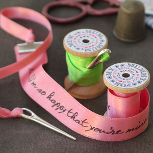 Personalised Ribbon And Wooden Spool Message
