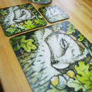 Gift Set: Table Mat, Coaster And Pot Stand Owl