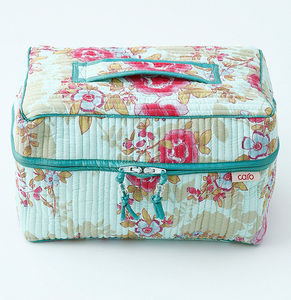 Vanity Bag In Blue Rose Print - travel bags & luggage