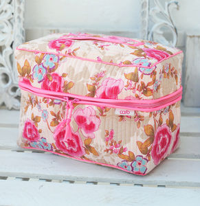 Vanity Bag In Pink Rose Print - make-up & wash bags
