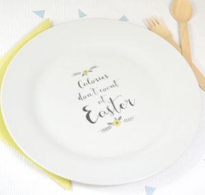 'Calories Don't Count At Easter' Ceramic Plate - crockery & chinaware