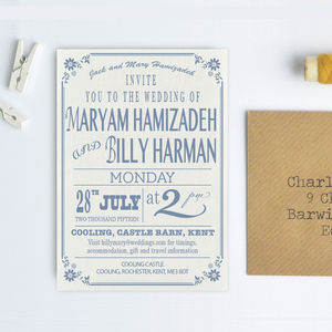 Country Vintage Style Wedding Invitation