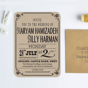 Vintage Style Recycled Wedding Invitation